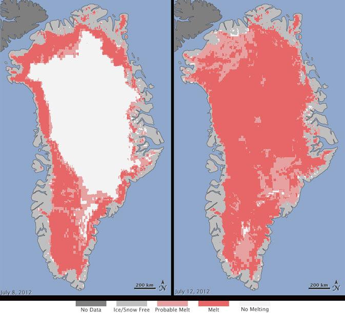 Deshielo de Groenlandia en 2012