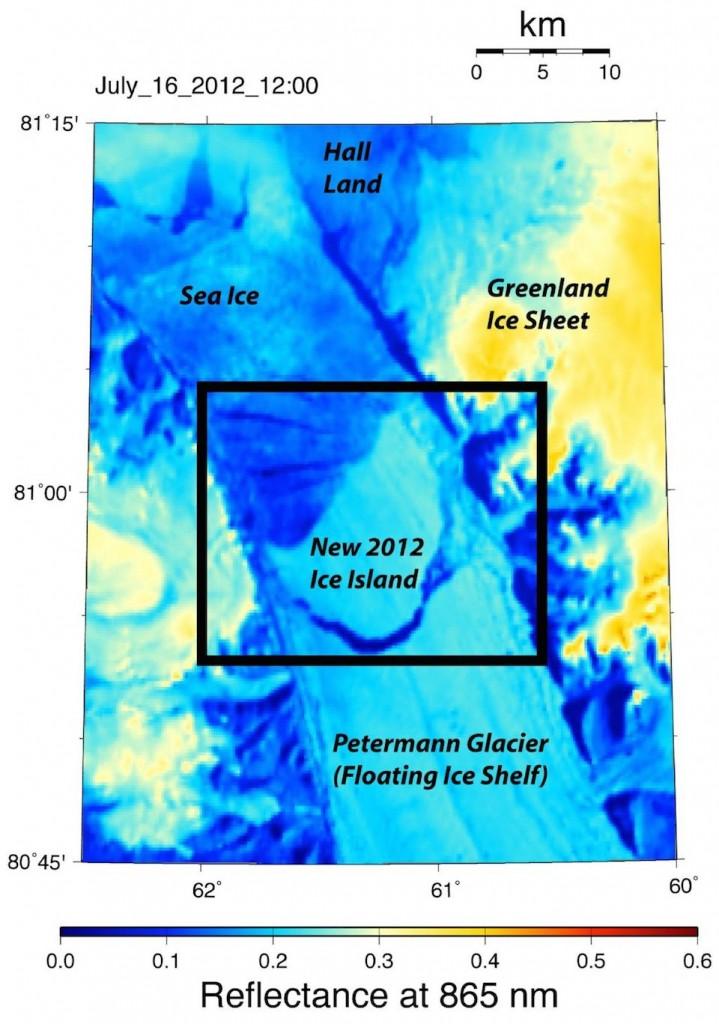 Desprendimiento de iceberg en Groenlandia del Glaciar Petermann en 2012, del tamaño de Manhattan