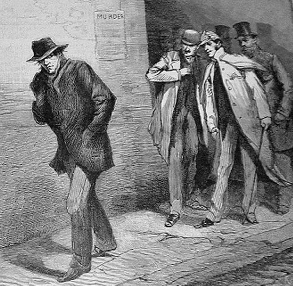 Dibujo del Illustrated London News, del 13 de octubre de 1888, sobre el caso de Jack El Destripador