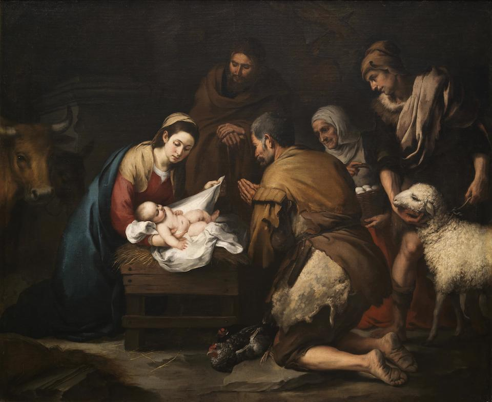 Adoración de los pastores, Bartolomé Esteban Murillo, hacia 1650- Museo del Prado, España