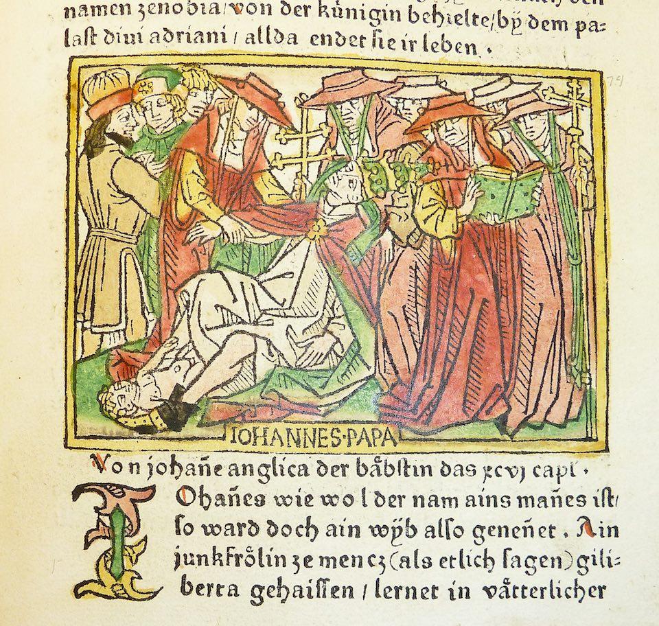 Representación medieval de la muerte de la papisa Juana.