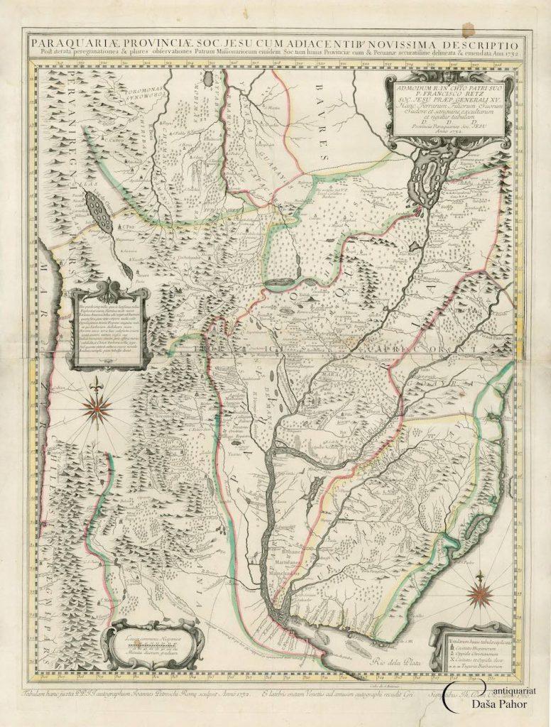 Mapa de Paraguay, Uruguay, parte de Argentina y parte de Brasil, de Giovanni Petroschi, Antonio Machoni y Juan Francisco D'Avila