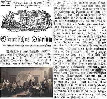 """""""Wiener Zeitung"""", ejemplar de 1776"""