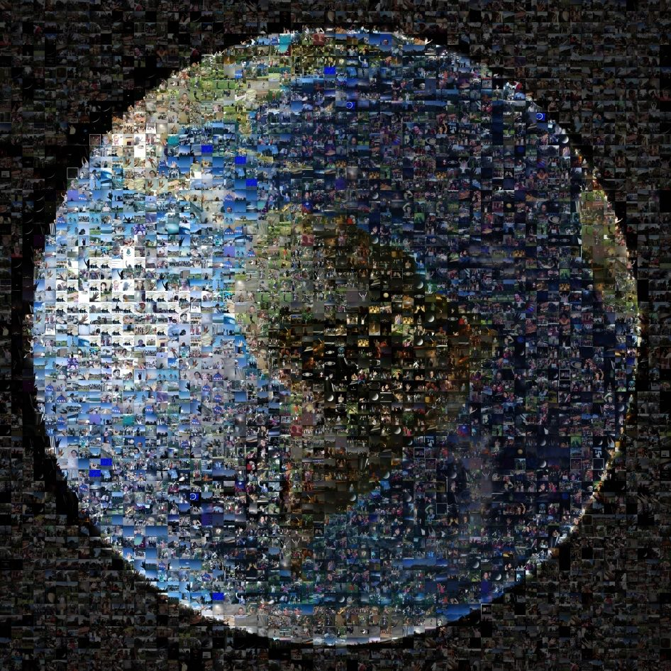 Collage de personas en la Tierra para conmemorar la fotografía tomada por el satélite Cassini el 19 de julio de 2013