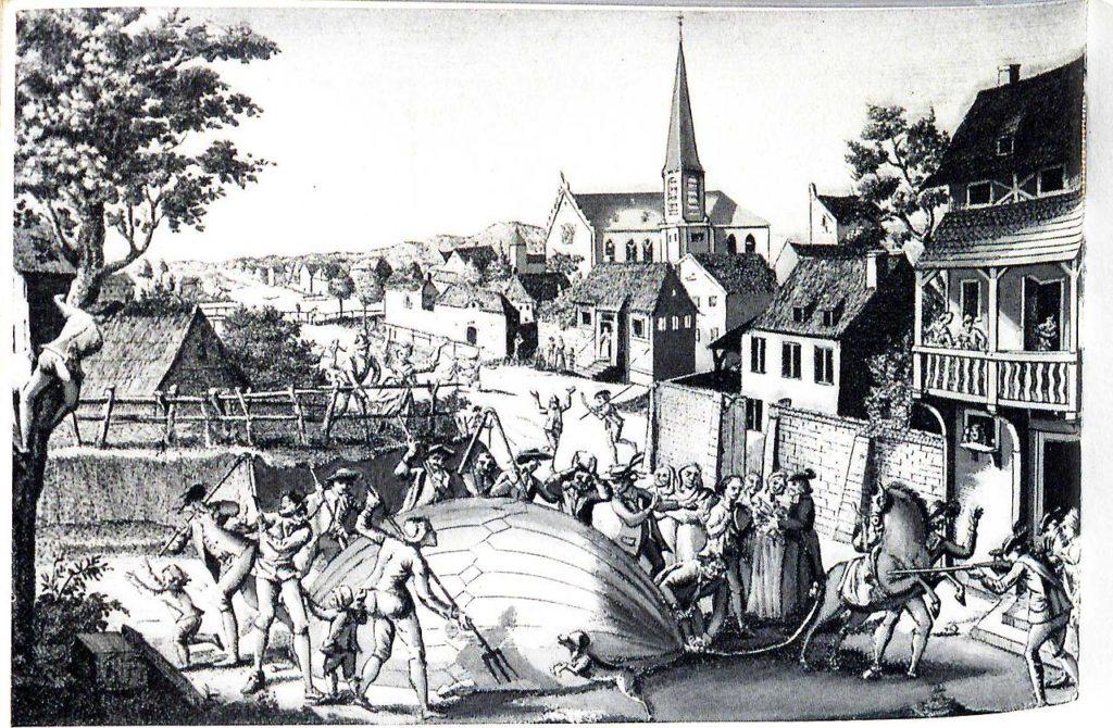 El globo aerostático de Jacques Alexandre Cesar Charles es atacado por los habitantes de la aldea de Gonesse en 1783