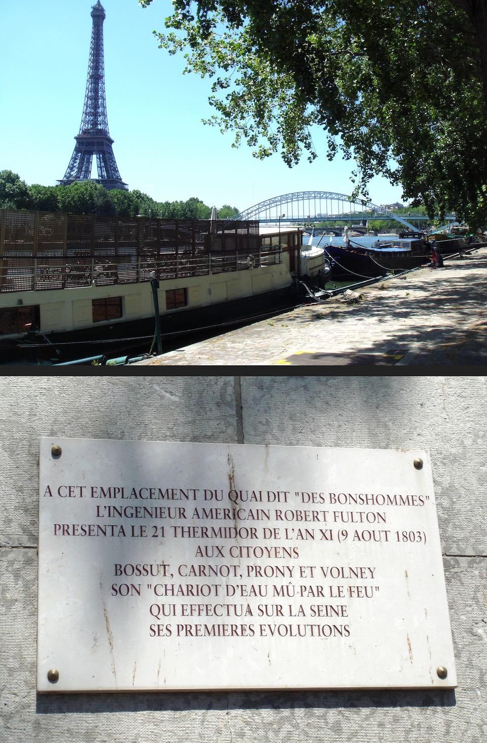 Placa en el Sena donde Fulton presentó su barco de vapor a Napoleón, World Imaging