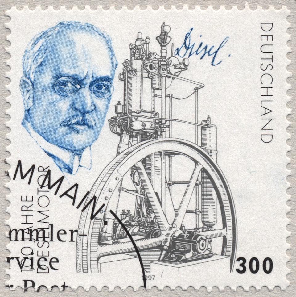 Estámpilla postal de Alemania en recuerdo de Rudolf Diesel