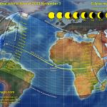 El 3 de noviembre, un eclipse de Sol híbrido. Otro con las mismas características en el 2160