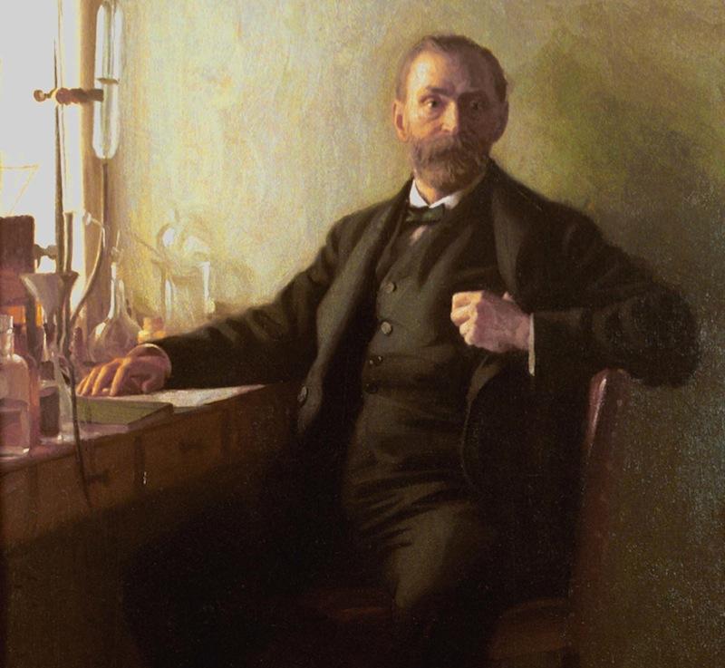 Alfred Nobel en uno de sus laboratorios