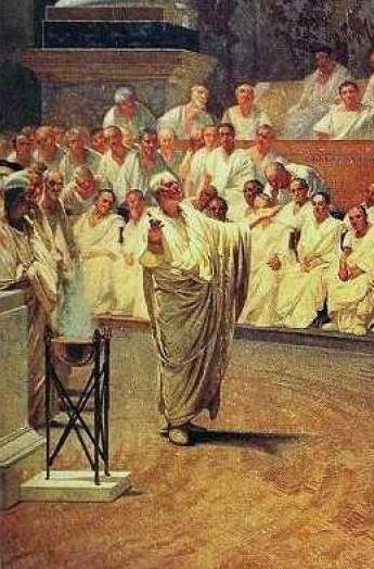 Cicerón desenmascara a Catilina- Cesare Maccari, 1889, fragmento