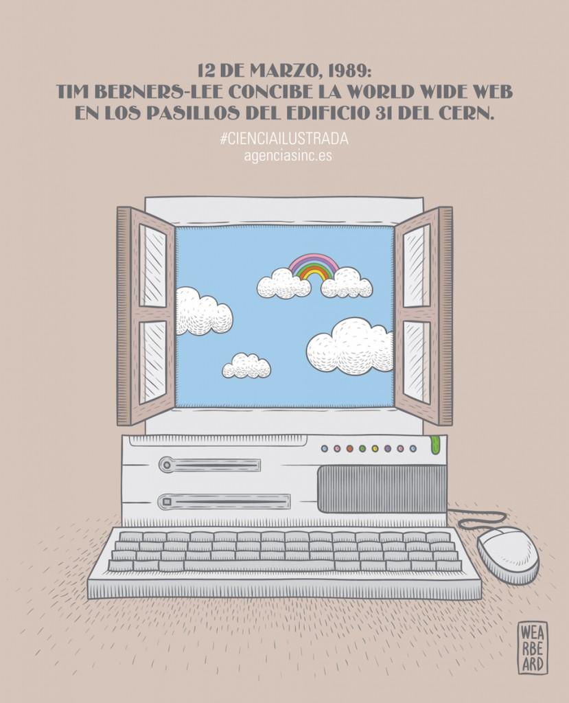 Tim Berners-Lee concibe la web en los pasillos del CERN: 12 de marzo de 1989
