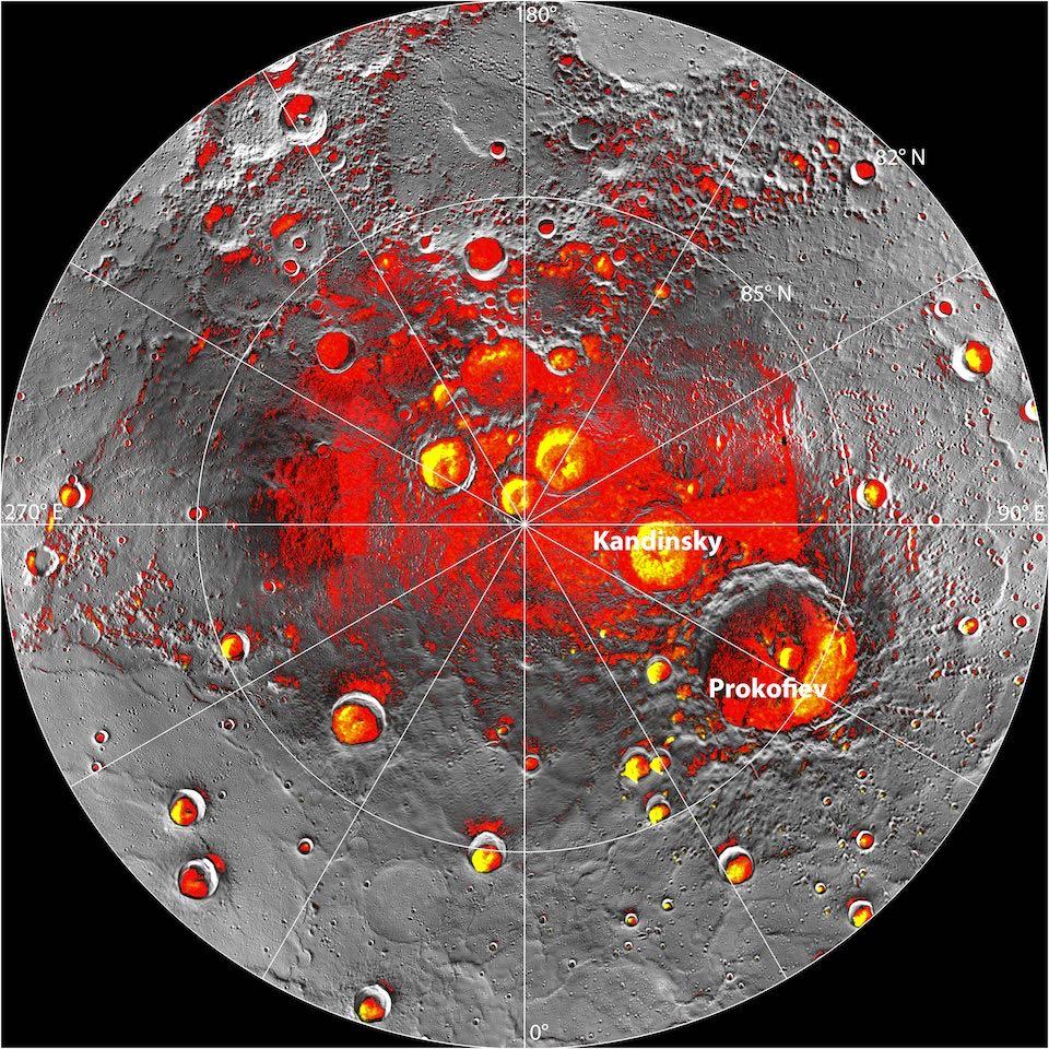 Imagen combinada del polo norte de Mercurio