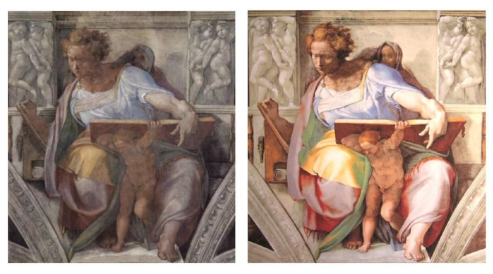 Daniel, antes y después de la restauración de la Capilla Sixtina de 1994