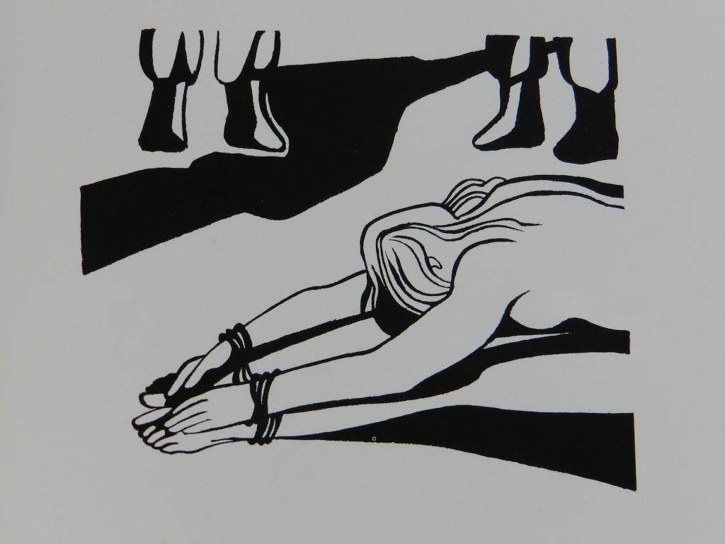 Contra la tortura, mujer en tortura. Grabado de Jose Venturelli publicado en el libro Patria Negra y Roja, Chile