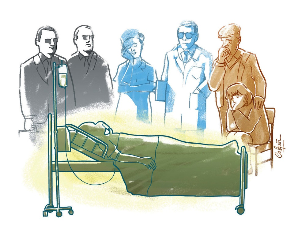 Familiares con enfermo al que se le aplica la eutanasia