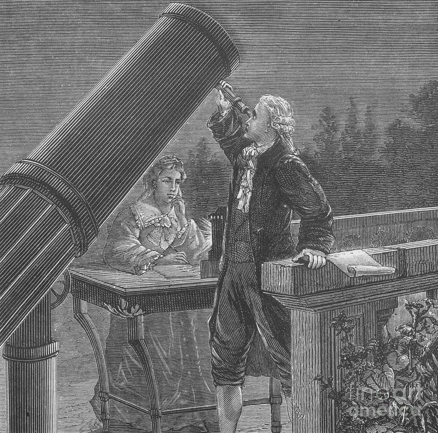 William Herschel, observando el espacio a través de primer gran telescopio, invento suyo, junto con Caroline Herschel