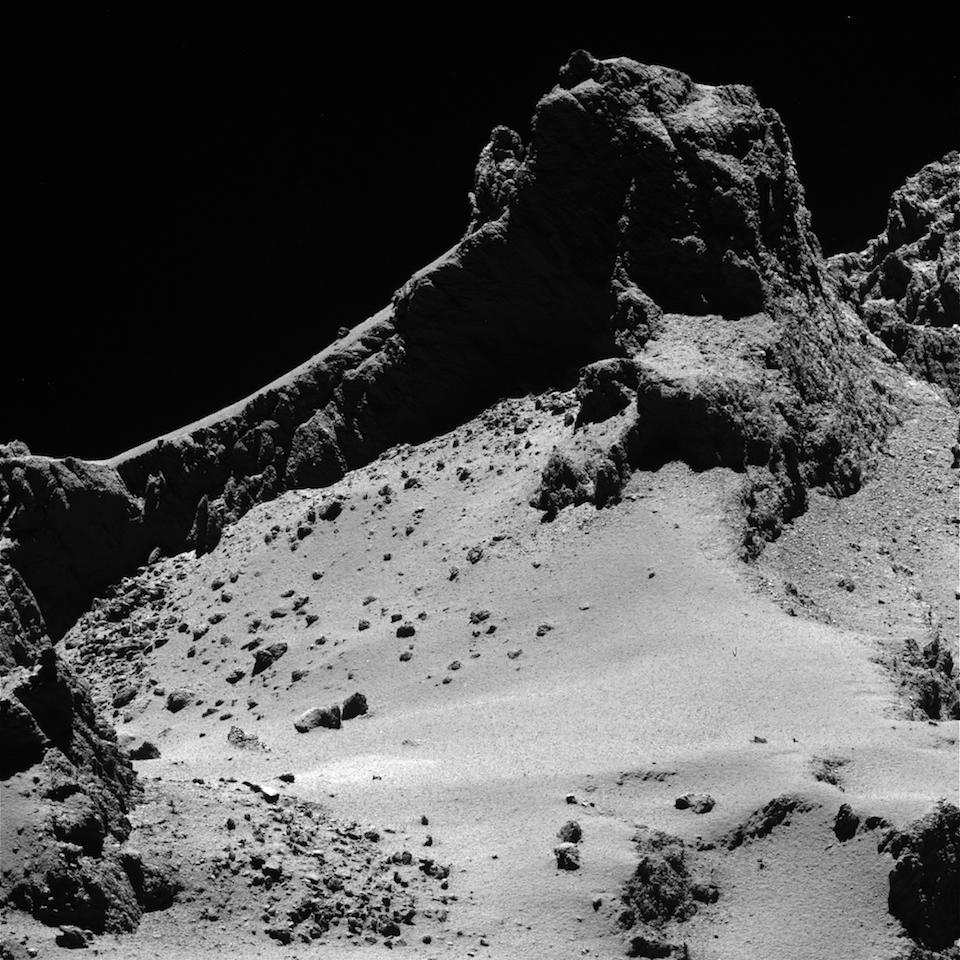 Acantialdo y campo de grava del cometa 67P_Churyumov-Gerasimenko- ESA_OSIRIS Team
