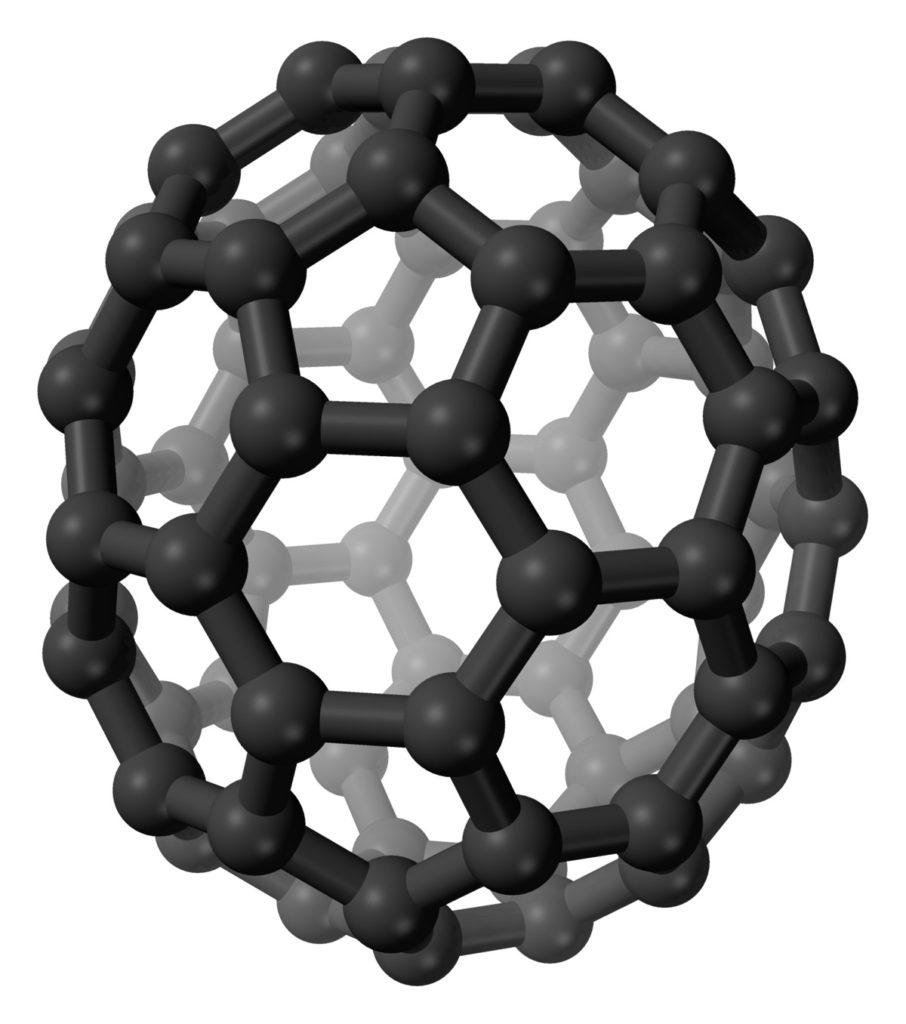 Fullereno con 70 átomos de carbono, C70 en 3D