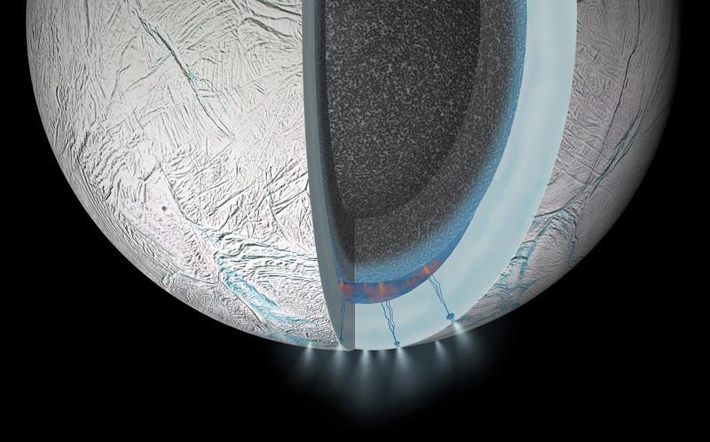Encélado, un satélite de Saturno, tiene aguas termales