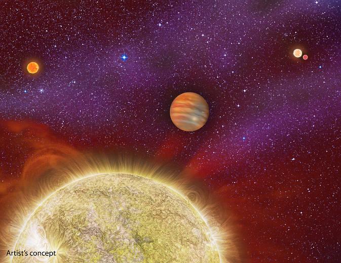 Un planeta 'criado' por cuatro estrellas madre