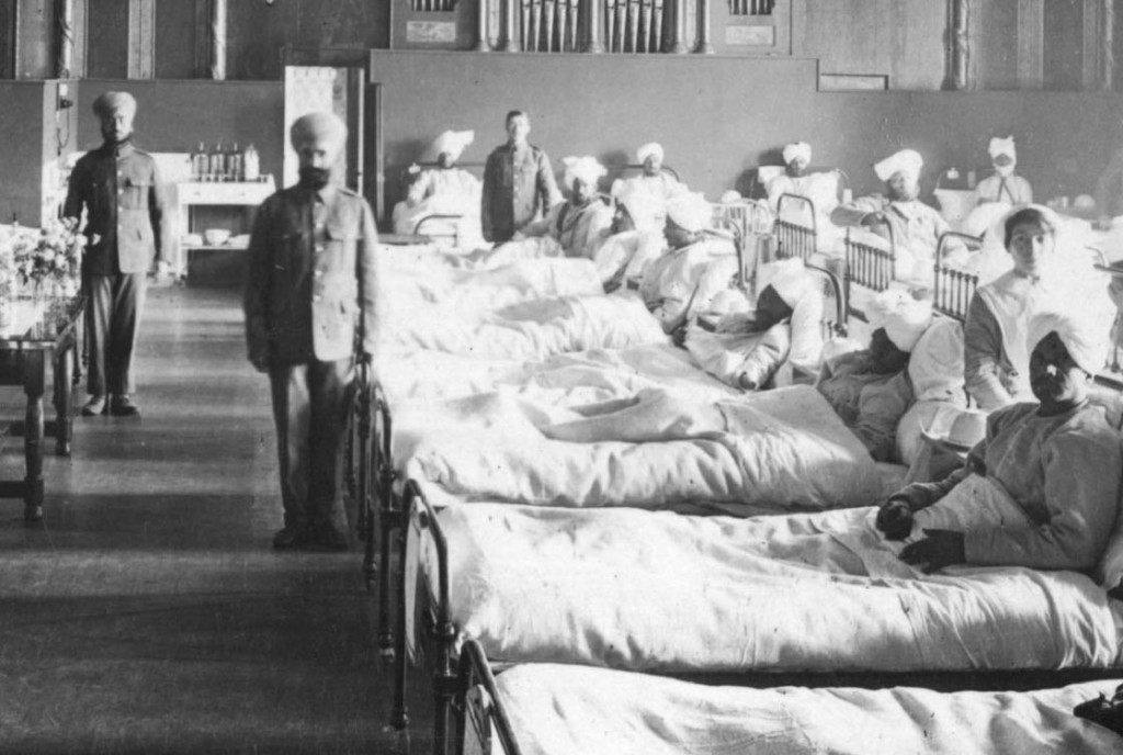 Hospital instalado en residencia hindu en la Primera Guerra Mundial