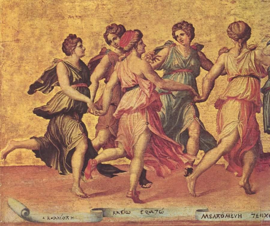 Danza de Apolo con las musas- Giulio Romano, fragmento