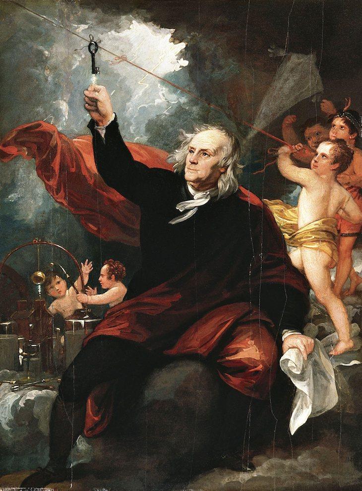 Benjamín Franklin en su experimento con la cometa para atrer electricidad- oléo Benjamín West, Philadelphia Mudeum of Arts
