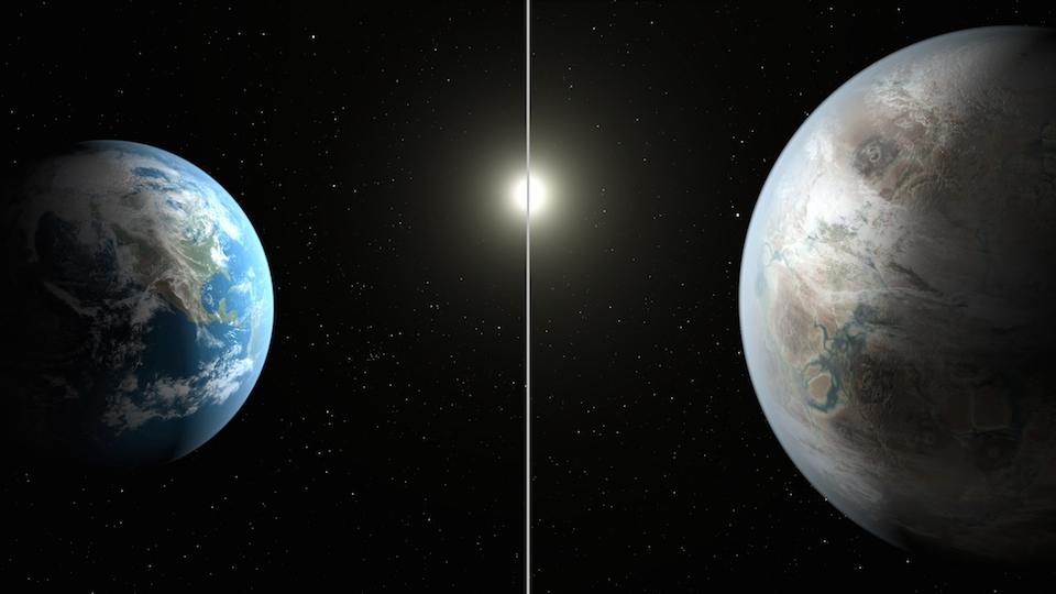 Desarrollo artístico de la Tierra y el exoplaneta Kepler 452b-NASA_JPL-CalTech
