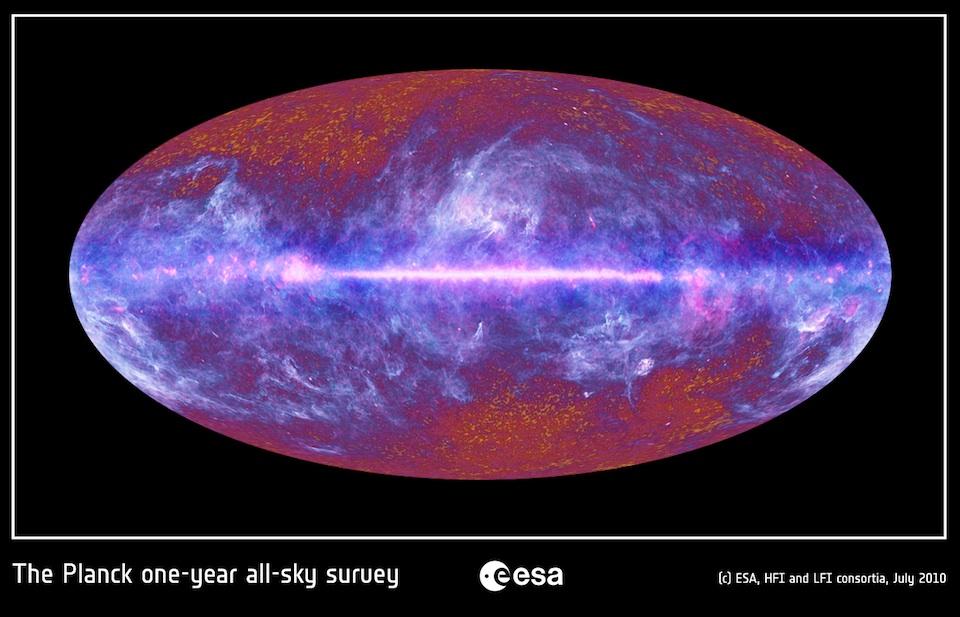 La primera fotografía del Universo de Planck, 100705, ESA: LFI & HFI Consortia