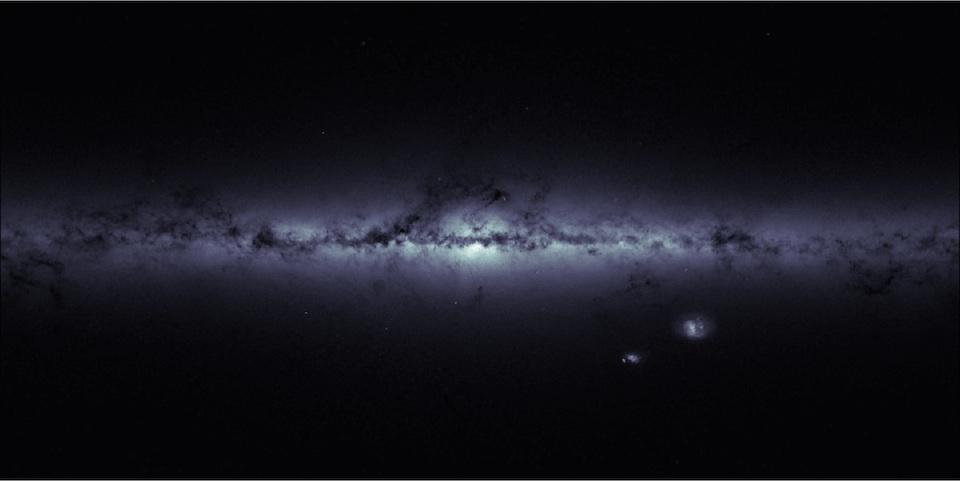 Mapa de densidad estelar, Vía Láctea y Nubes de Magallanes- ESA:Gaia