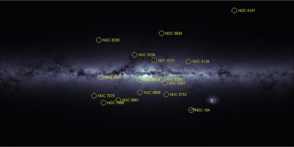 Mapa de densidad estelar, Vía Láctea y Nubes de Magallanes- ESA:Gaia con anotaciones