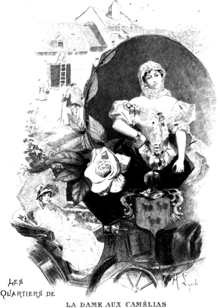 Portada de La Dama de las Camelias de 1885, dibujo de Albert Lynch