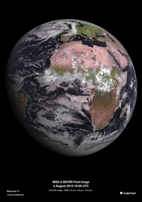 La Tierra vista por el nuevo satélite meteorológico europeo, MSG-4; su primera imagen