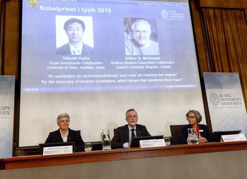 Anuncio del Premio Nobel de Física 2015, otorgado al japonés Takaaki Kajita y el canadiense Arthur B. McDonald- EFE