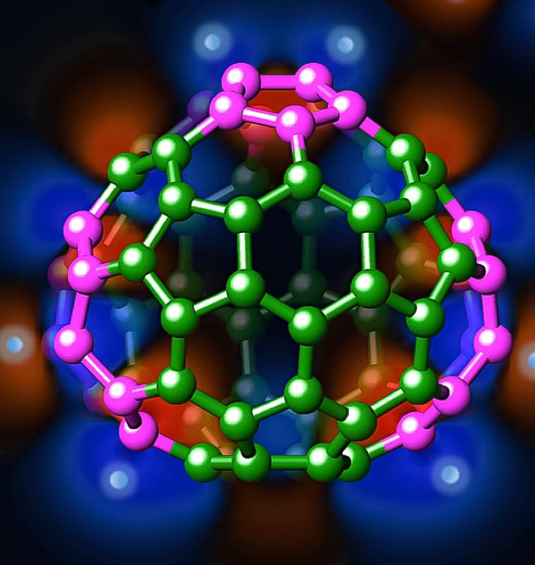 Estructura tridimensional de uno de los isómeros del C686- (fullereno formado por 68 átomos de carbono con carga -6)- UAM