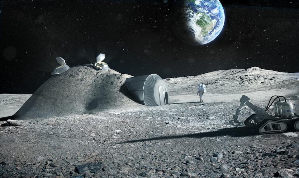 Base lunar hecha con impresora 3D, ESA:Foster + Partners