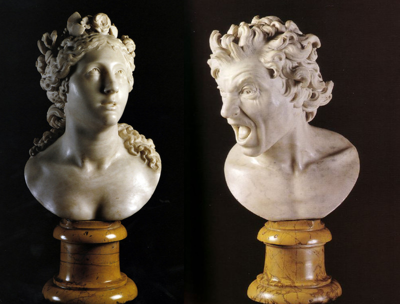 Esculturas Anima Beata (izquierda) y Anima Dannata de Bernini- Wikipedia