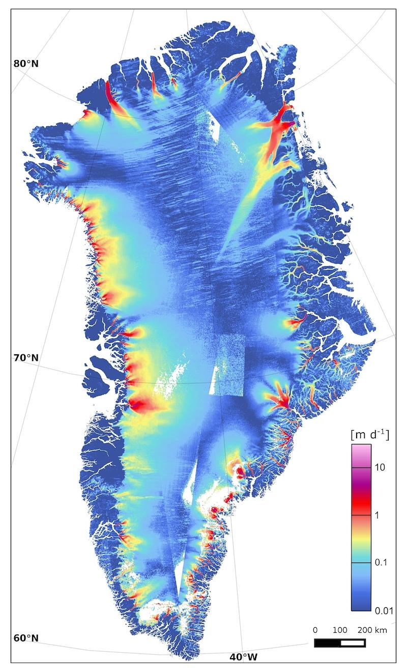Mapa de desprendimiento de hielo en Groenlandia- Contains modified Copernicus Sentinel data (2015):ENVEO:ESA CCI:FFG