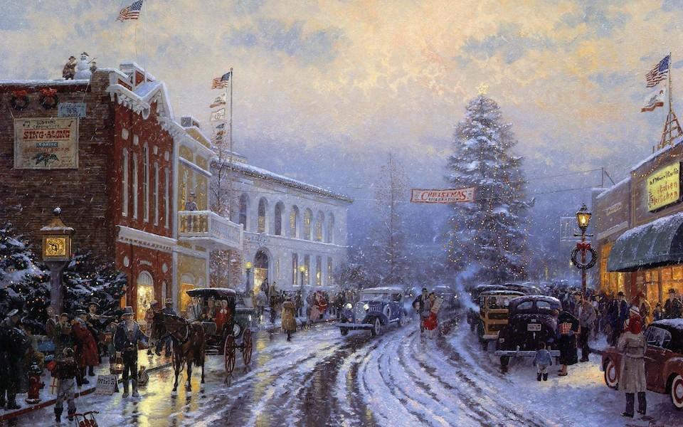 Christmas, Navidad-Thomas Kinkade