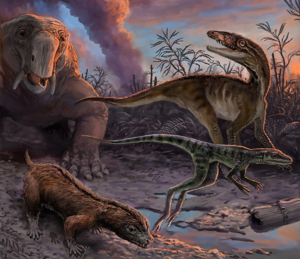 Dinosaurios escapando de una erupción volcánica- Victor Leshyk