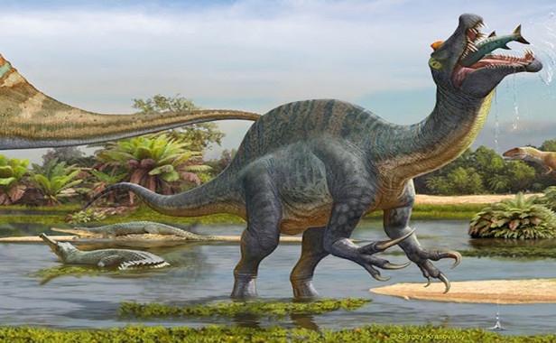 Spinosaurus alimentándose de peces- Sergey Krasovskiy