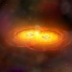 Fusión de dos agujeros negros, un evento que puede generar ondas gravitacionales- NASA