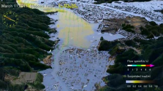 El poder destructivo del tsunami de Japón del 11 de marzo de 2011
