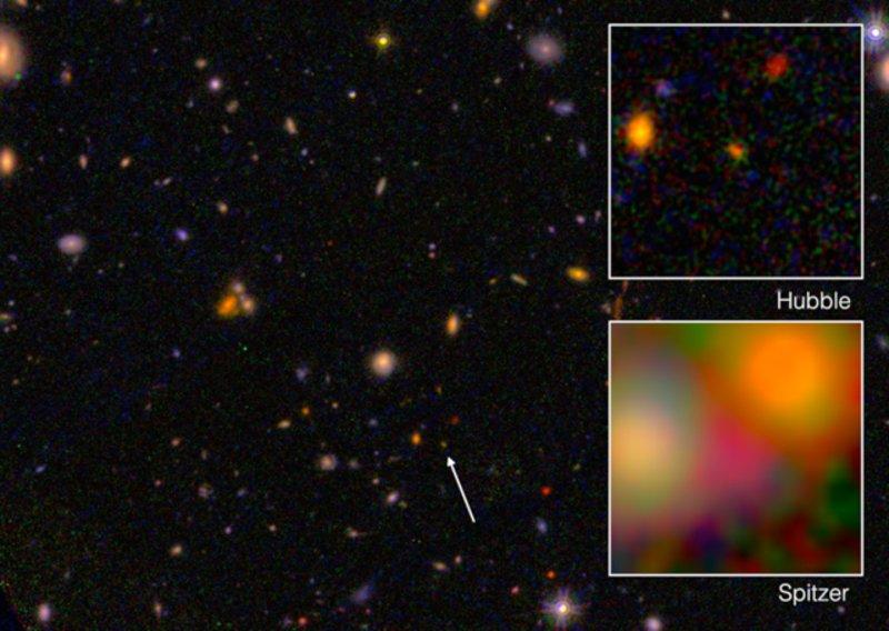 La galaxia EGSY8p7 observada por los telescopios espaciales Hubble y Spitzer