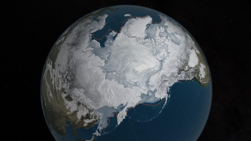 La menor cantidad de hielo en el Ártico registrado en la historia, 24 de marzo de 2016- NASA, Goddard