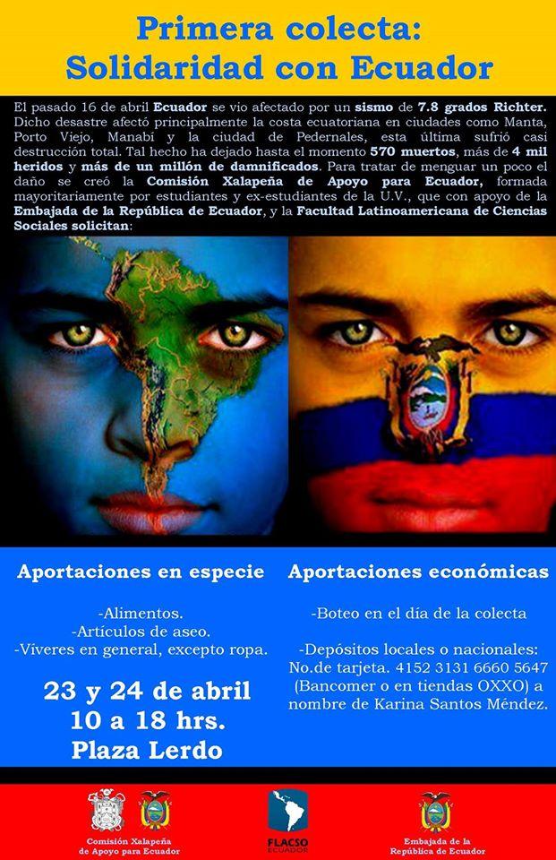 """Colecta """"Solidaridad por Ecuador"""", en Xalapa, México"""