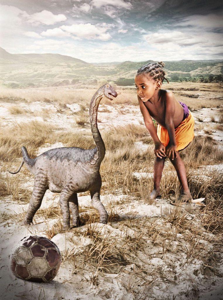 Dinosaurio recién nacido y niña- T. Keillor y A. Morrow