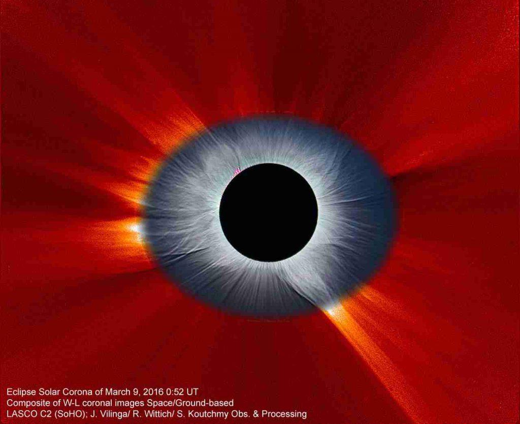 Ojo de Sol, la corona solar durante el eclipse de Sol del 9 de marzo de 2016- SOHO