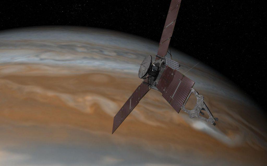 La nave espacial Juno realizando un sobrevuelo cercano a Júpiter- NASA, JPL-Caltech