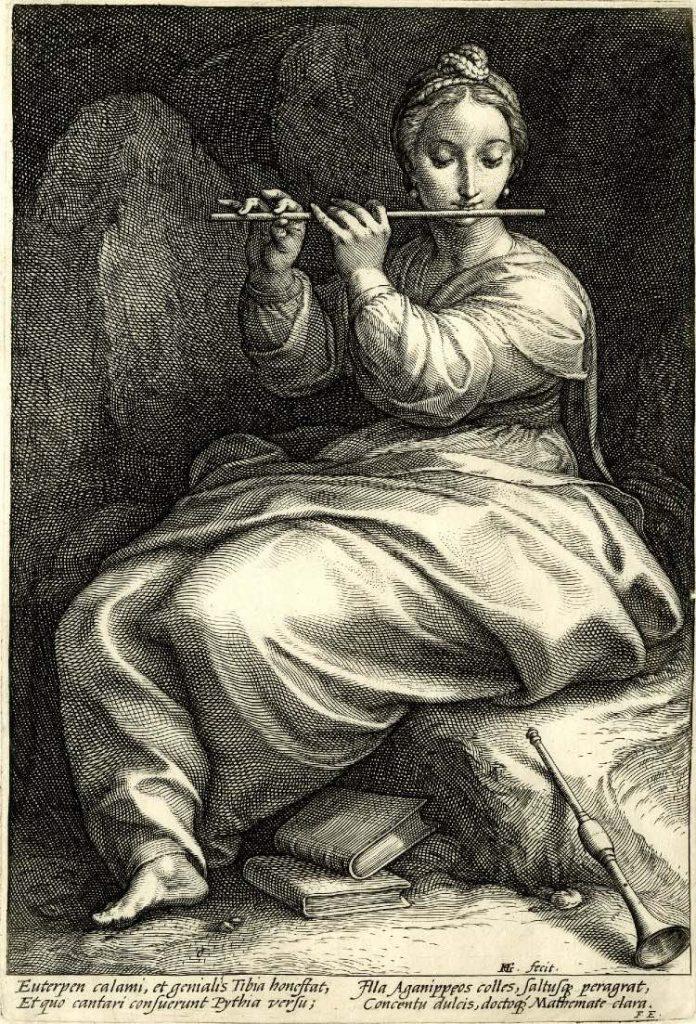 Euterpe (de las colección Las Nueve Musas)- Hendrick Goltzius, British Museum